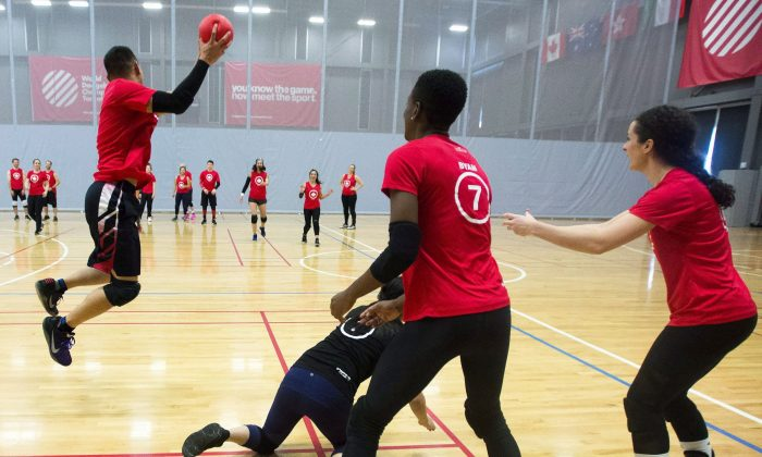 Team Canada dodgeball players practise during a scrimmage in Markham, Ont., on Oct. 16, 2017. (The Canadian Press/Nathan Denette)
