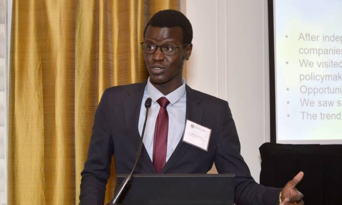 Akol Nyok Akol Dok, a South Sudanese business consultant speaks at the South Sudan investment road show in New York City, on April 12, 2019. (Courtesy of Akol Nyok Akol Dok)