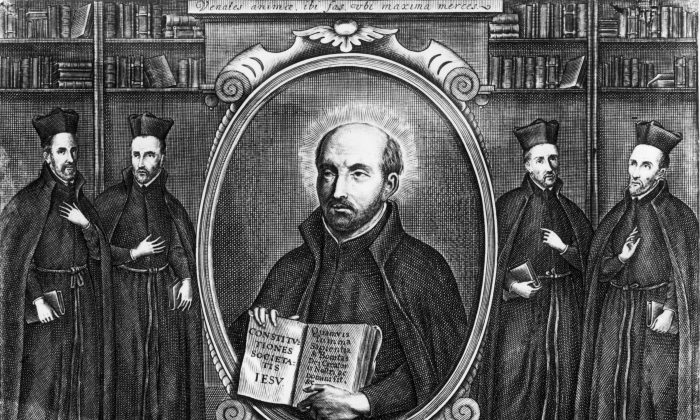 Circa 1550, St Ignatius De Loyola (1491 - 1556), the Spanish ecclesiastic who founded the Society of Jesus, otherwise known as the Jesuits, in 1534. Surrounding him are Lessius, Molina, Vasquez and Escobar. (Hulton Archive/Getty Images)