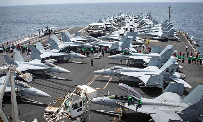 Flight deck of the U.S. aircraft carrier USS Abraham Lincoln in the Arabian Sea, on May 19, 2019. (Garrett LaBarge/U.S. Navy/Handout via Reuters)