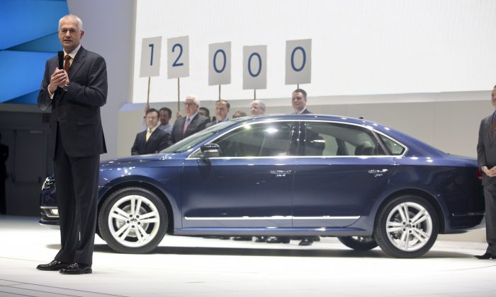 Jonathan Browning, then-CEO of Volkswagen Group of America, introduces the company's new Passat at the North American International Auto Show in Detroit, on Jan. 10, 2011. The Passat has been built in Chattanooga, Tenn., creating 12,000 jobs, according to Volkswagen.  GEOFF ROBINS/AFP/Getty Images