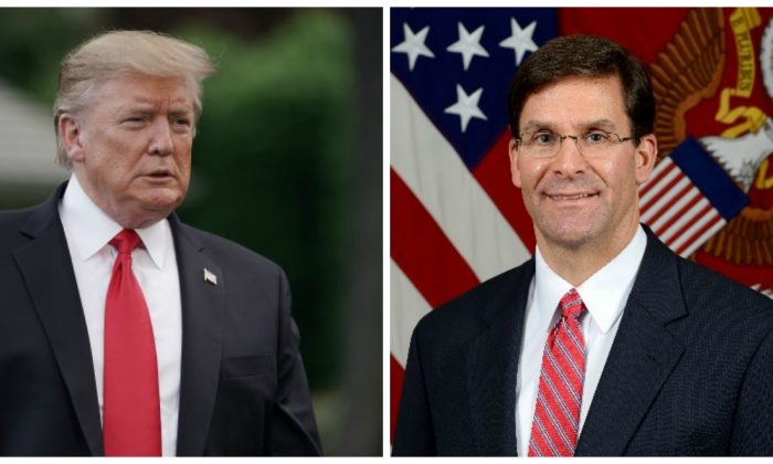 President Donald Trump on May 20, 2019 and Secretary of the Army Mark Esper in a file photo. (Chip Somodevilla/Getty Images; Department of Defense)