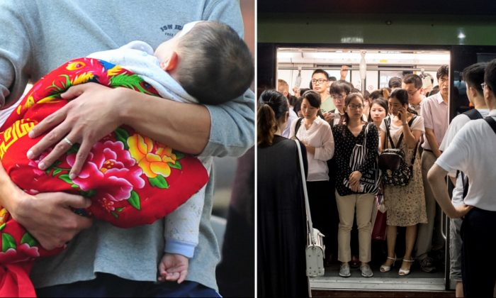 (L) Father carrying his child. (Frederic J. Brown/AFP/Getty Images) -- (R) Subway in China (Johannes Eisele/AFP/Getty Images)