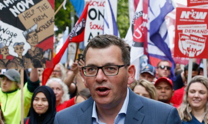 Premier of Victoria Daniel Andrews marches with protesters as they take part in a rally organised by the ACTU in Melbourne, Australia, on Oct. 23, 2018. (Darrian Traynor/Getty Images)