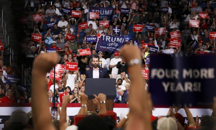 Donald Trump Jr speaks during President Donald Trump's 2020 reelection event in Orlando, Fla., on June 18, 2019. (Charlotte Cuthbertson/The Epoch Times)