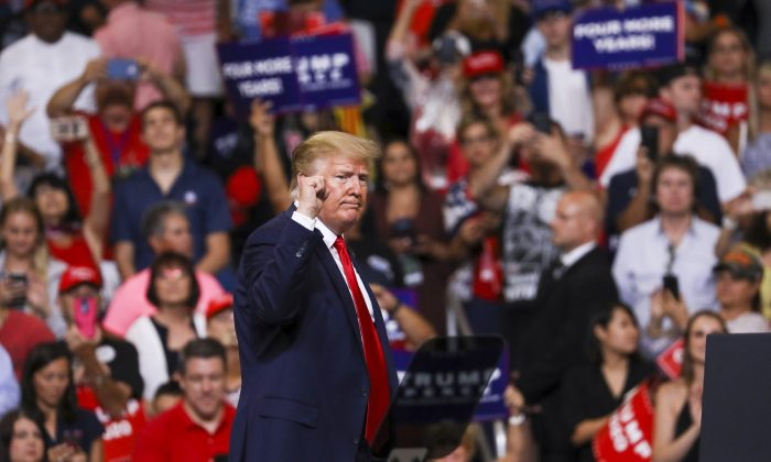 President Donald Trump at his 2020 re-election event in Orlando, Fla., on June 18, 2019. (Charlotte Cuthbertson/The Epoch Times)