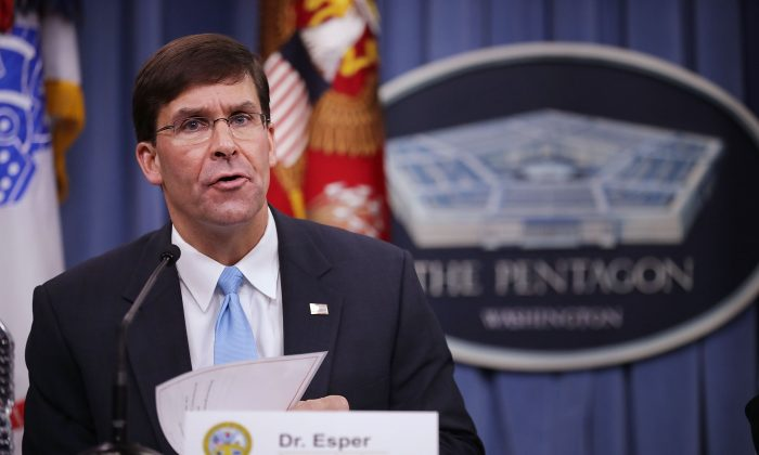 U.S. Army Secretary Mark Esper announces that Austin, Texas, will be the new headquarters for the Army Futures Command during a news conference at the Pentagon in Arlington, Virginia on July 13, 2018. (Chip Somodevilla/Getty Images)