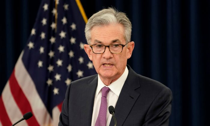 Federal Reserve Chairman Jerome Powell holds a news conference following a two-day Federal Open Market Committee meeting in Washington on June 19, 2019. (Kevin Lamarque/Reuters)