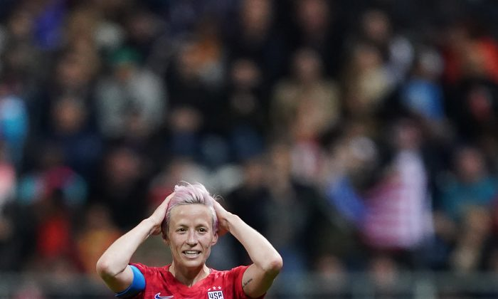 United States' forward Megan Rapinoe reacts  during the France 2019 Women's World Cup Group F football match between USA and Thailand, on June 11, 2019, at the Auguste-Delaune Stadium in Reims, eastern France. (Lionel Bonaventure/AFP/Getty Images)
