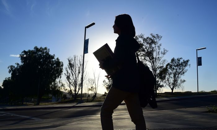 A student walks on campus at Linfield Christian School in Temecula, California on March 23, 2016. (Frederic J. Brown/AFP/Getty Images)