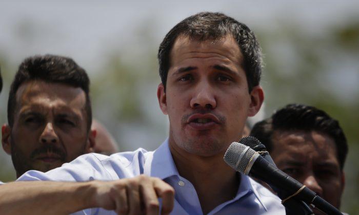 Venezuelan interim president Juan Guaidó, during a rally as part of Operacion Libertad in Guatire, Venezuela on May 18, 2019.  Eva Marie Uzcategui/Getty Images