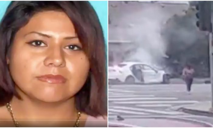 Martiza Joana Lara (L), who police believe is the woman who walked away from a crash (R) in North Hills, Los Angeles on June 16, 2019. (LAPD)