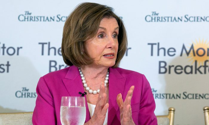 U.S. House Speaker Nancy Pelosi speaks at a breakfast roundtable hosted by The Christian Science Monitor at St. Regis Hotel in Washington, on June 19, 2019. (Michael Bonfigli/The Christian Science Monitor.)