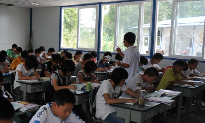 A temporary classroom in China. (China Photos/Getty Images)