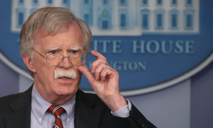 Then-National Security Advisor John Bolton in a press conference at the White House, in Washington, on Aug. 2, 2018. (Mark Wilson/Getty Images)