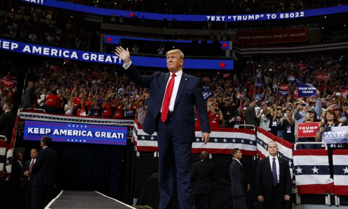 President Donald Trump arrives to speak at his re-election kickoff rally at the Amway Center in Orlando, Fla., on June 18, 2019. (Evan Vucci/AP Photo)