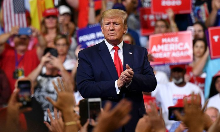 President Donald Trump speaks at his 2020 election campaign rally in Orlando, Fla., on June 18, 2019. (Mandel Ngan/AFP/Getty Images)