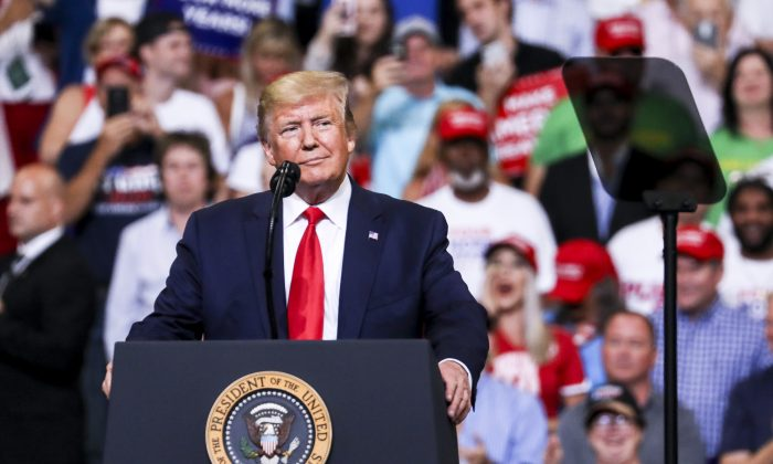 U.S. President Donald Trump at his 2020 re-election event in Orlando, Fla., on June 18, 2019. (Charlotte Cuthbertson/The Epoch Times)