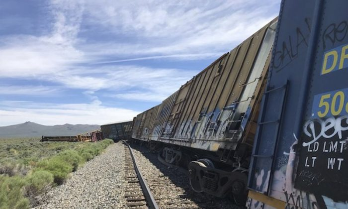 This photo provided by the Nevada Department of Public Safety shows a derailed train near Wells, Nev., on June 19, 2019. (Nevada Department of Public Safety via AP)