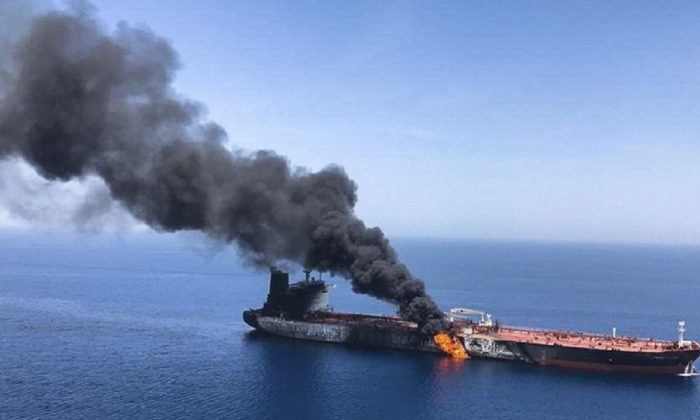 An oil tanker is on fire in the sea of Oman, on June 13, 2019. (ISNA, File/AP Photo)