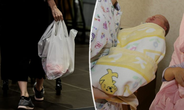 (L) A woman carrying a plastic bag. (Martin Bureau/AFP/Getty Images) -- (R) A woman holding a newborn. (Mark Ralston/AFP/Getty Images)