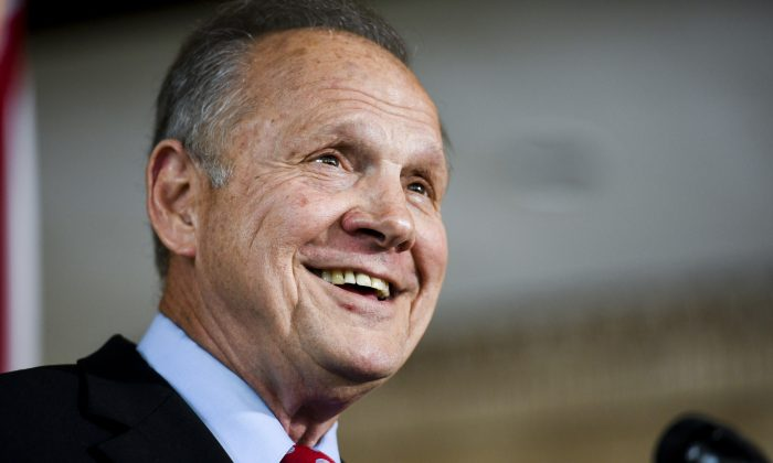 Former Alabama Chief Justice Roy Moore announces his run for the Republican nomination for U.S. Senate in Montgomery, Ala. on June 20, 2019. (Julie Bennett/AP Photo)