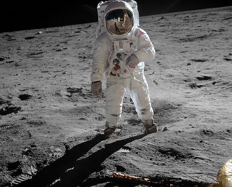 Buzz Aldrin, on the Apollo 11 mission, on the moon. (Public Domain)