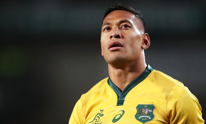 Israel Folau of the Wallabies looks on during the Third International Test match between the Australian Wallabies and Ireland at Allianz Stadium on June 23, 2018 in Sydney, Australia. (Matt King/Getty Images)