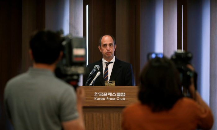 Special Rapporteur on the situation of human rights in North Korea Tomas Ojea Quintana speaks during a news conference in Seoul, South Korea on June 21, 2019.  (Kim Hong-Ji/Reuters)