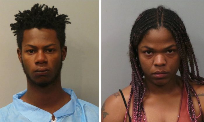 Menuis Ellis, 17, and Davina Parker, 26, were taken into custody in connection with a vehicular break-in and officer shooting in Maryland Heights, Mo., on June 20, 2019. (Maryland Heights Police Department)