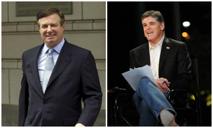 Political consultant Paul Manafort and Fox News host Sean Hannity. (Jose Luis Magana/AP Photo and Chris McKay/Getty Images)