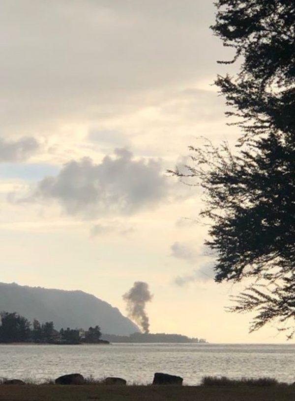 Plume of smoke rises after plane crash in Haleiwa, Hawaii