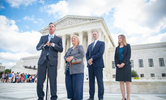 (L-R) Attorney J. David Breemer, Rose Knick, attorney Brian T. Hodges, and attorney Christiana M. Martin outside the Supreme Court building in Washington on Oct. 3, 2018. (Courtesy Pacific Legal Foundation)