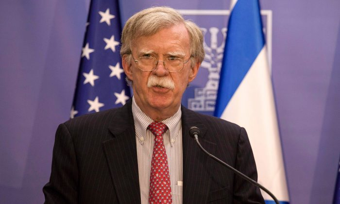 National Security Advisor John Bolton gives a press conference with the Israeli prime minister (unseen) in Jerusalem on June 23, 2019. (TSAFRIR ABAYOV/AFP/Getty Images)