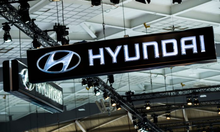 The logo of Hyundai Motor at the #WeAreMobility fair at the 97th edition of the Brussels Motor Show, in Brussels, on Jan. 18, 2019. (Dirk Waem/AFP/Getty Images)