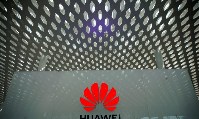 A Huawei company logo at the Shenzhen International Airport in Shenzhen, Guangdong Province, China on June 17, 2019. (Aly Song/Reuters)