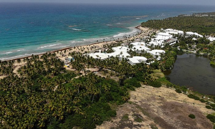 An aerial view from a drone shows the grounds of the Excellence resort in Punta Cana, Dominican Republic, on June 21, 2019. (Joe Raedle/Getty Images)