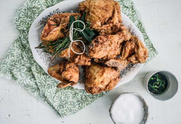 buttermilk fried chicken with herbs and hot honey sauce