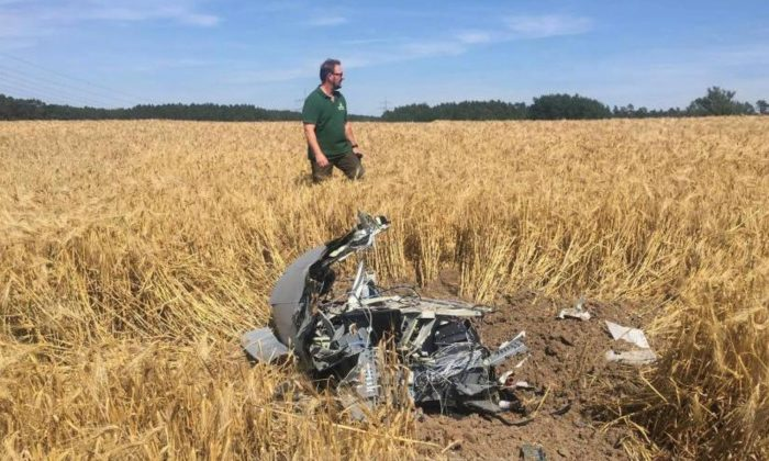 A forest official stands next to debris after two Eurofighter warplanes crashed after a mid-air collision near the village of Jabel in northeastern Germany, on June 24, 2019  (Petra Konermann/Nordkurier via Reuters)