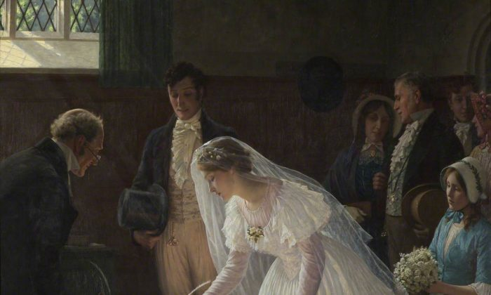 """The Wedding Register,"" 1920, Edmund Blair Leighton. A gift from Lady Lennard, 1948, Bristol City Museum and Art Gallery.  (Public Domain)"
