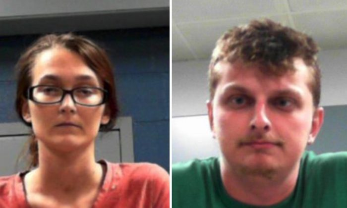 Ashley Stover (L) and David Thomas face child neglect charges after two children were found in appalling conditions, including one suffering from severe malnourishment, in Ravenswood, West Virginia, on June 24, 2019. (West Virginia Regional Jail and Correctional Facility Authority)