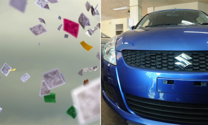 (L) A man throwing paper in China. (STR/AFP/Getty Images) -- (R) A blue Suzuki car. (Soe Than Win/AFP/Getty Images)