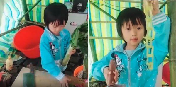 Girl knife skill