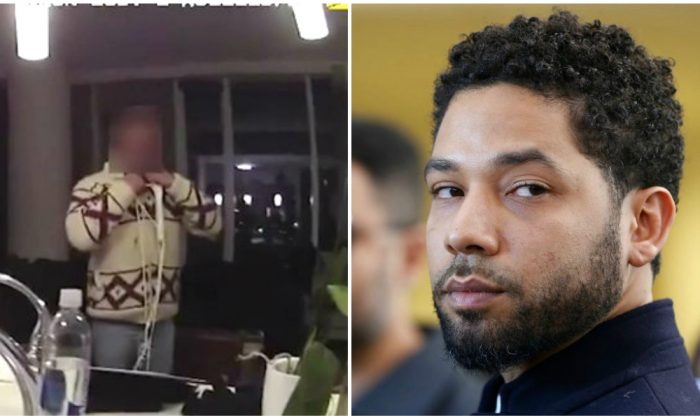 (L) Actor Jussie Smollett being interviewed by Chicago Police on Jan. 29, 2019 (AP) and Smollett after his court appearance on March 26, 2019 in Chicago, IL. (Nuccio DiNuzzo/Getty Images)
