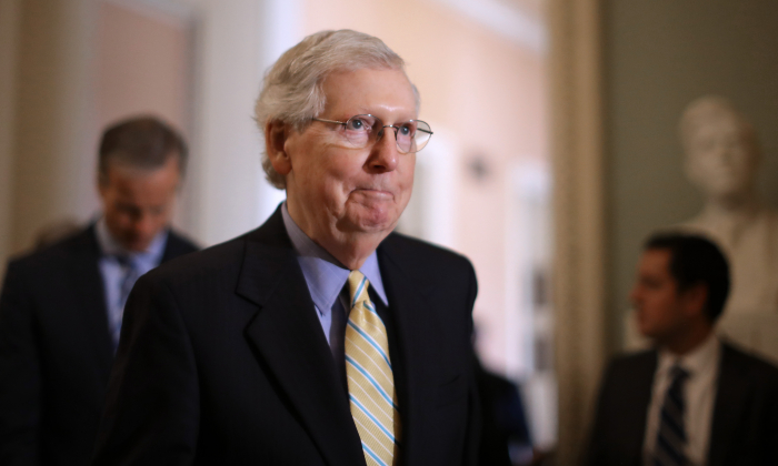 Senate Majority Leader Mitch McConnell (R-KY) talks to reporters at the Capitol in Washington on June 11, 2019. (Chip Somodevilla/Getty Images)