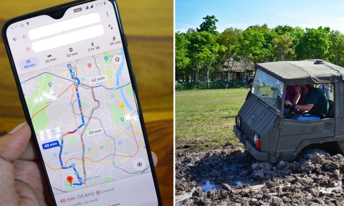 Stock images of a google map app (deepanker70/Pixabay) and a vehicle stuck in muddy field. (RonaldPlett/Pixabay)
