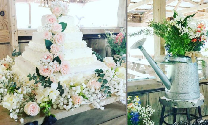 A DIY cake and flower arrangement San Antonio Wedding Consultant Jessica Hoyle-King made with her family members for her brother's wedding in Austin, Texas. (Courtesy of Jessica Hoyle-King/Instagram)