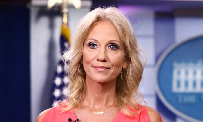 Senior Counselor to the President Kellyanne Conway conducts an interview with Fox in the James S. Brady press briefing room at the White House in Washington on Aug. 21, 2018. (Samira Bouaou/The Epoch Times)