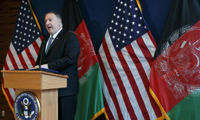 Secretary of State Mike Pompeo speaks during a news conference at U.S. Embassy Kabul on June 25, 2019, during an unannounced visit to Kabul, Afghanistan. (Jacquelyn Martin/Pool via AP)