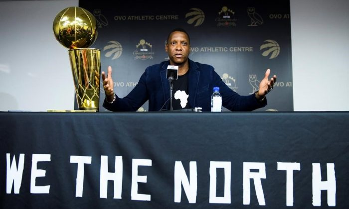 Toronto Raptors president Masai Ujiri speaks to the media during a year end press conference in Toronto on June 25, 2019. (Nathan Denette/The Canadian Press)